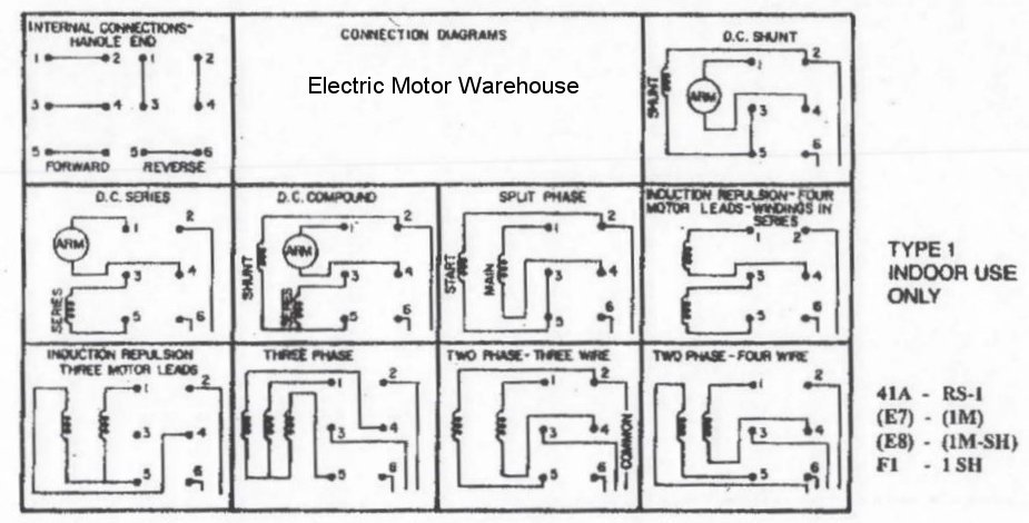 1.5 hp - 2 hp Electric Motor Reversing Drum Switch - Position ... Balador Wiring Single Phase Volt Motor Diagram on