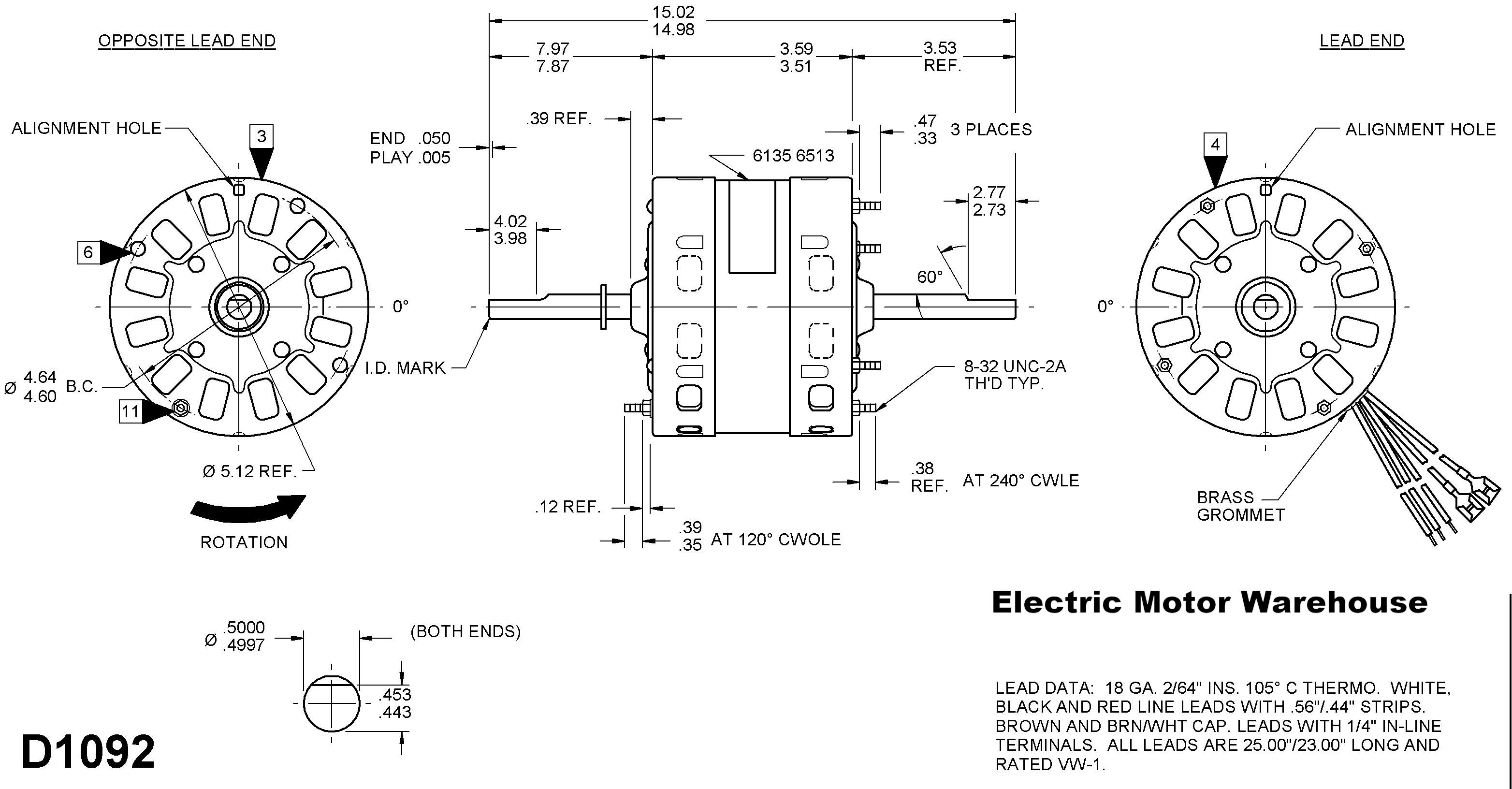 D1092_drawing 1 3 hp 115v 1625 rpm 2 speed rv air conditioner motor (7184 0156 Coleman Mach Thermostat Wiring Diagram at gsmx.co